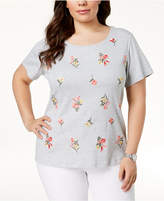 Karen Scott Plus Size Cotton Embroidered Top, Created for Macy's