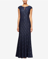 Alex Evenings Cap-Sleeve Glitter Lace Column Gown