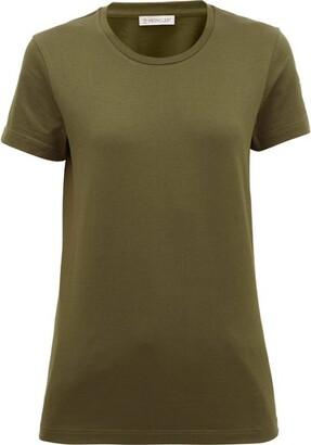 Moncler Logo-patch Cotton-jersey T-shirt - Khaki