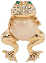 Carolee Gold-Tone Imitation Pearl Pavé Frog Pin