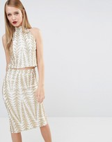 TFNC Zig Zag Sequin Crop Top