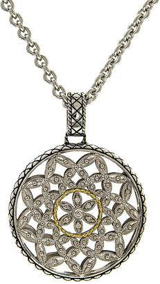 Candela Andrea Tesoro 18K & Silver Diamond Large Round Flower Pattern Necklace