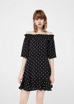 MANGO Off-shoulder polka-dot dress