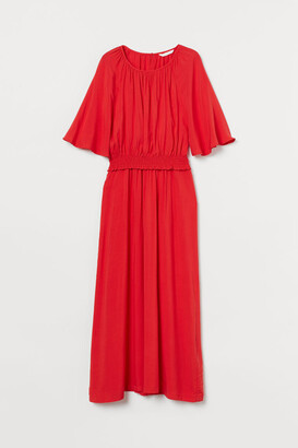 H&M MAMA Long Nursing Dress - Red
