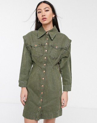 Asos khaki denim seam detail dress-Green