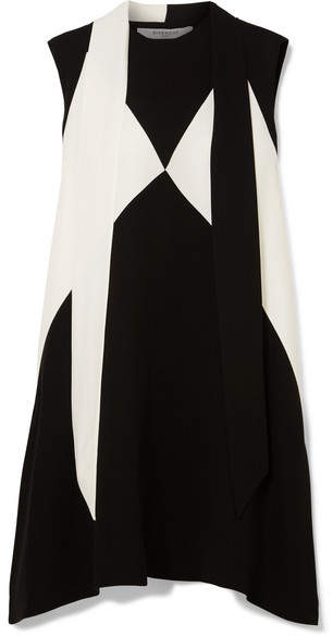 Givenchy Oversized Pussy-bow Two-tone Crepe Mini Dress - Black