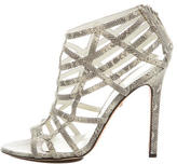 Tania Spinelli Embossed Leather Cage Sandals