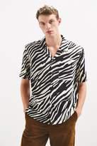 Urban Outfitters Zebra Rayon Short Sleeve Button-Down Shirt