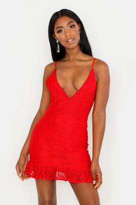 boohoo Lace Plunge Ruffle Hem Mini Dress