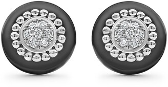 Lagos Black Caviar Diamond Pave Stud Earrings