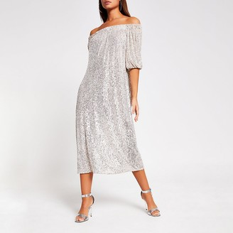 River Island Silver sequin bardot midi dress