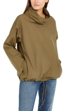 Eileen Fisher Funnel-Neck Organic Cotton Pull-On Jacket