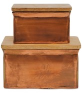 Creative Co-Op Aluminum Boxes with Wood Lids, Set of 2