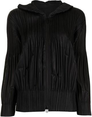 Pleats Please Issey Miyake Pleated Hooded Jacket