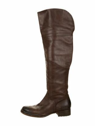 Alberta Ferretti Leather Riding Boots Brown