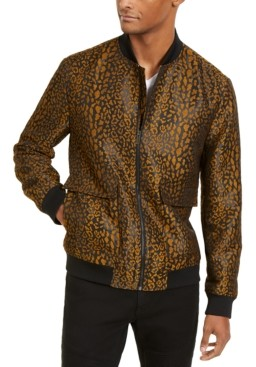INC International Concepts Inc Men's Leopard Brocade Bomber Jacket, Created for Macy's
