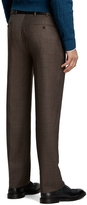 Brooks Brothers Madison Fit Plain-Front Brown Tic with Rust Deco Trousers