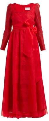 Valentino Chantilly Lace-trimmed Silk-organza Gown - Womens - Red