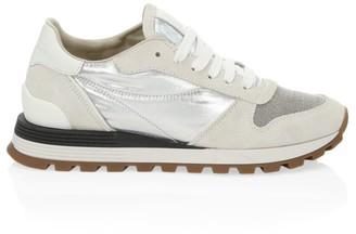Brunello Cucinelli Monili-Trimmed Suede & Metallic Leather Sneakers