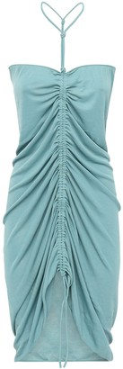 Bottega Veneta Ruched Knit Viscose Dress W/ Drawstring