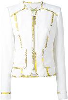 Versace printed trim jacket - women - Polyester/Spandex/Elastane - 42