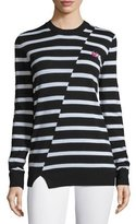 McQ by Alexander McQueen Striped Wool Crewneck Sweater, Black/White