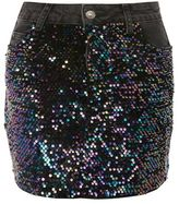 Topshop Moto sequin denim mini skirt