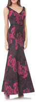 JS Collections Rosette Print Crushed-Effect Mermaid Gown