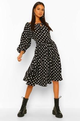 boohoo Polka Dot Oversized Midi Smock Dress