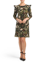 Three-quarter Sleeve Floral Dress