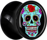 Body Candy Black Acrylic Brilliant Blue Colorful Sugar Skull Saddle Plug Pair 13mm