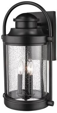 "Breakwater Bay Isabel 3-Light Outdoor Wall Lantern Fixture Finish: Black, Size: 16"" H x 9.25"" W x 9"" D"