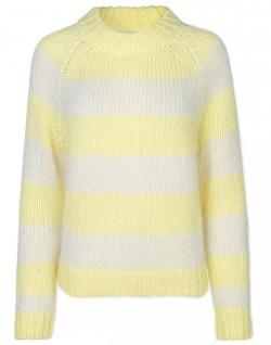 Samsoe & Samsoe Simone Crew Neck - Yellow Pearl Stripe - Size XS   yellow   Mohair - Yellow/Yellow
