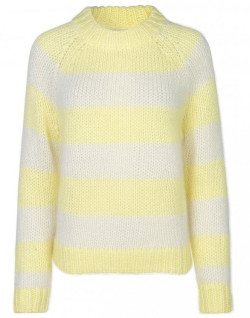 Samsoe & Samsoe Simone Crew Neck - Yellow Pearl Stripe - yellow | Mohair | Size M - Yellow/Yellow
