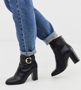 Asos Design DESIGN Wide Fit Relay heeled ankle boots in black