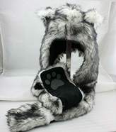 Wolf Anime Hood Faux Fur Hat With Warm Mitten Scarfs and Paw Print 3 in 1 Function