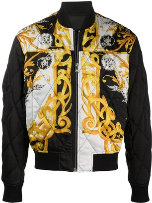 Versace Barocco-print quilted bomber jacket