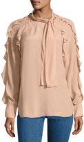 See by Chloe Tie-Neck Ruffled Silk-Blend Blouse