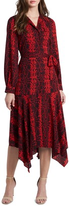 Vince Camuto Snake Print Long Sleeve Handkerchief Hem Shirtdress