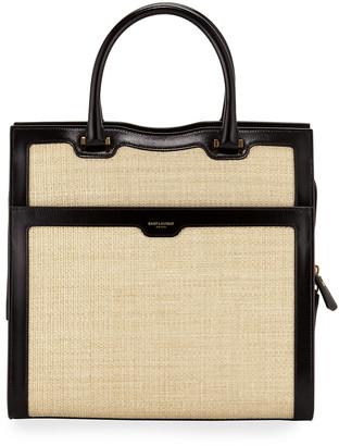 Saint Laurent Uptown Medium Monogram Leather/Raffia Satchel Bag