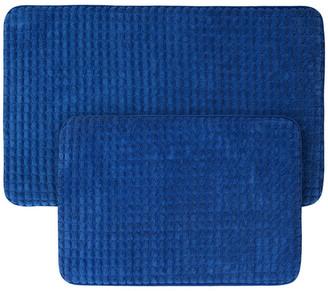 Lavish Home 2-Piece Memory Foam Bath Mat Set, Woven Jacquard Fleece, Navy