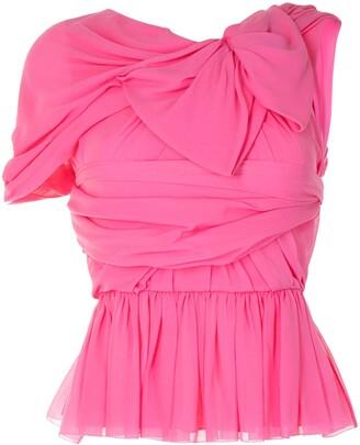 DELPOZO Georgette draped silk top