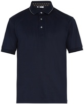 Brioni Stitch-embroidered cotton-jersey polo shirt