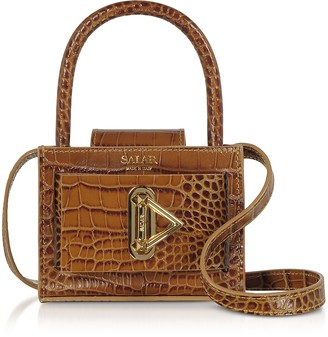 Salar Loulou Croco Embossed Tan Leather Top Handle Bag
