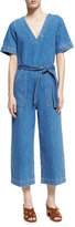 MiH Jeans Hart Deep V All-in-One Jumpsuit, Blue