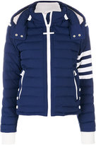 Thom Browne Downfill Ski Jacket With 4-Bar Stripe & Removable Hood In Navy Matte Nylon Poplin