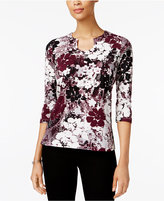 Alfred Dunner Printed Split-Neck Top