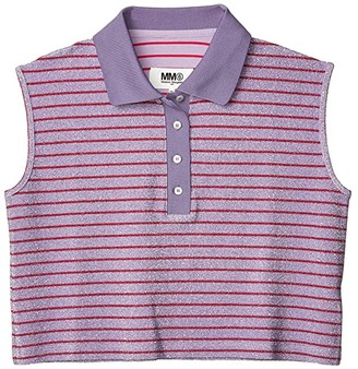 MM6 MAISON MARGIELA Cropped Fit Sparkly Sleeveless Polo (Stripy Lilac) Women's Clothing