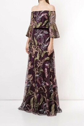 Marchesa Notte Off Shoulder Embroidered Tulle Evening Gown