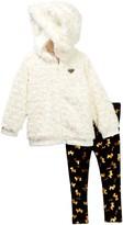 Juicy Couture Faux Fur Hooded Jacket & Scottie Dog Foil Legging Set (Toddler Girls)